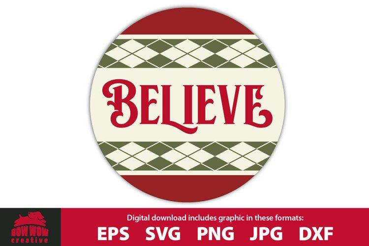 BELIEVE - Round Front Door Porch Sign example image 1