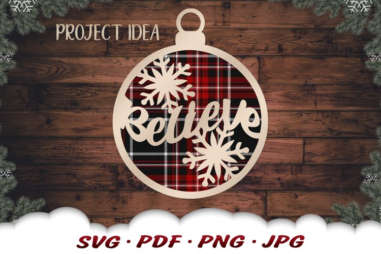 Believe Christmas Ornament SVG Files For Cricut example image 1