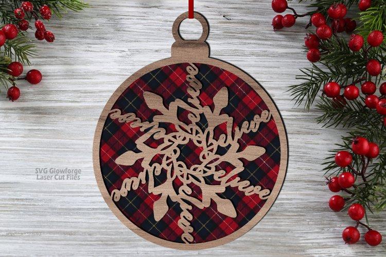 Christmas Believe Snowflake Ornament SVG Glowforge Files example image 1