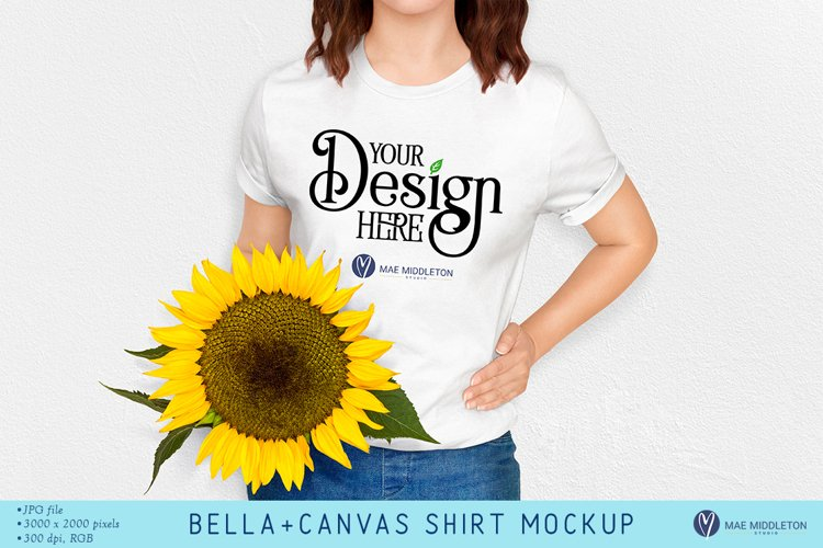 White Bella Canvas Mockup | Styled photo, Sunflower