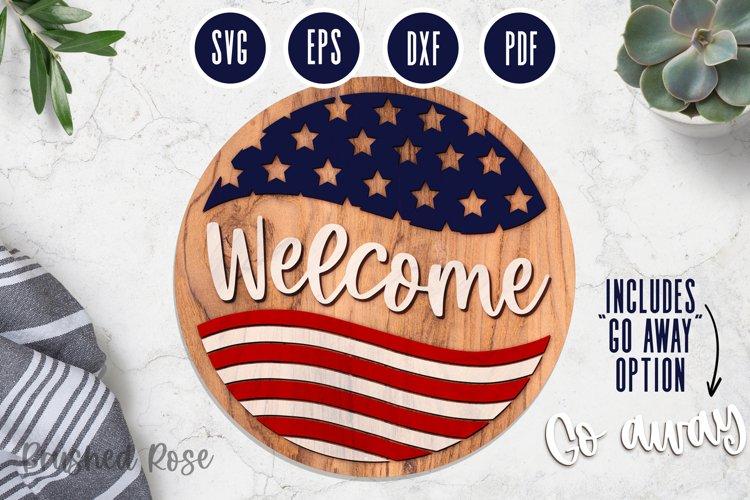 American Flag laser SVG circle welcome sign   Laser cut file