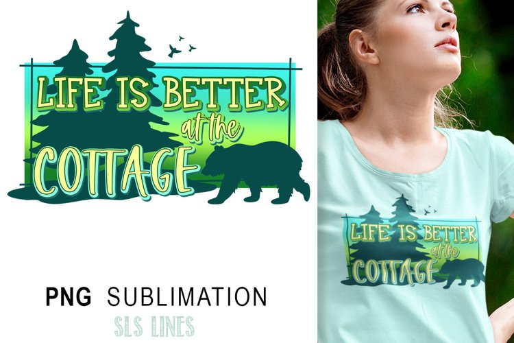 Cottage & Lake Sublimation PNG - Cabin Vacation