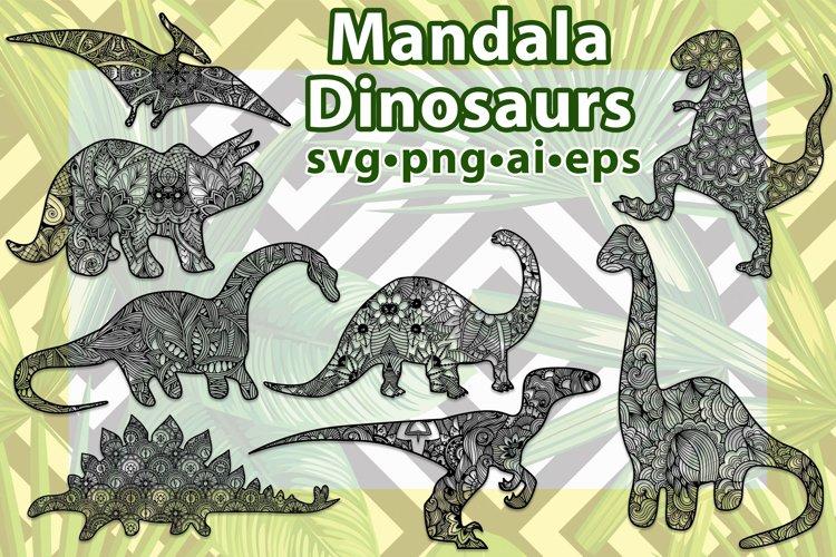 Mandala Dinosaurs Set. 8 Zentangle Dino