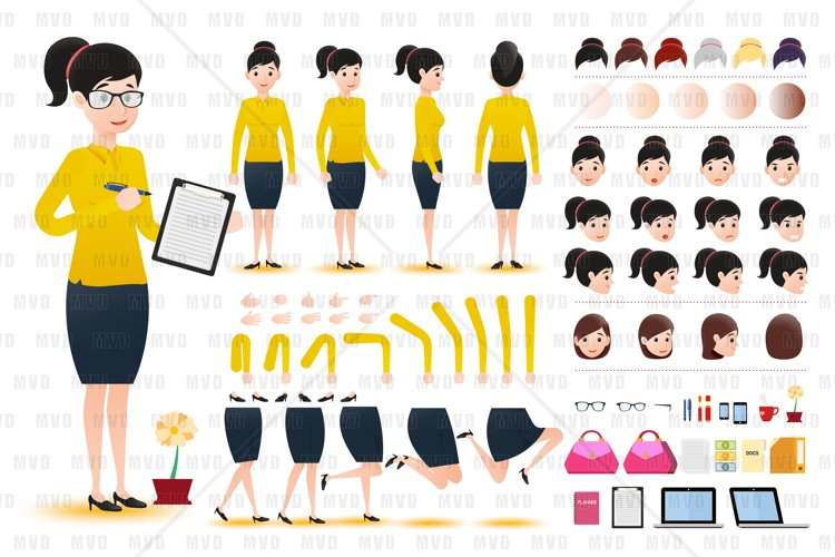 Woman Clerk Wearing Skirt Character Creation Kit Template