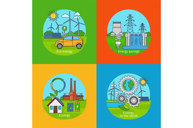 Green energy and ecology concept icons example image 1