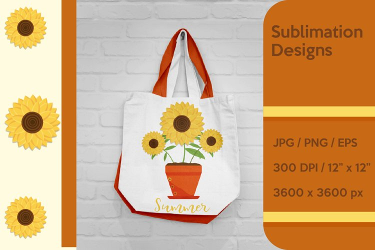 Sunflowers in the pot Sublimation and Clipart example image 1