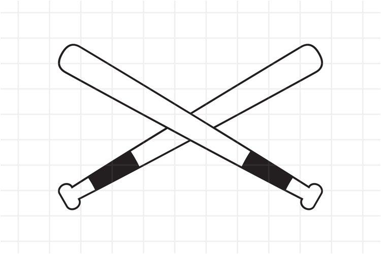 Baseball Crossed Bats SVG cut file. example image 1