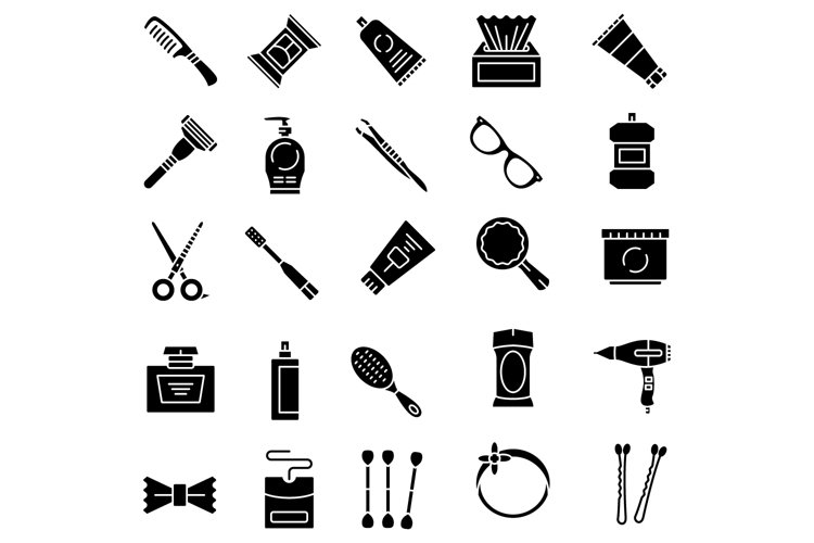 Personal care products solid icons set example image 1