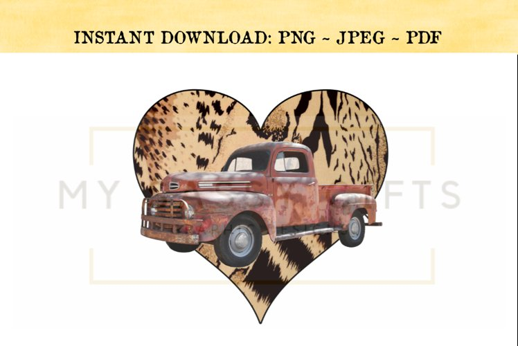 Valentine's Day Leopard Print Heart With Vintage Red Truck example image 1