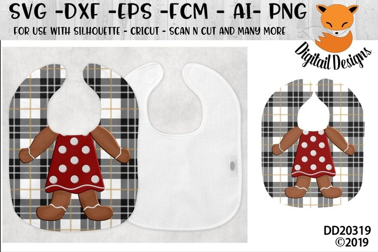 Gingerbread Girl Baby Bib Sublimation example image 1