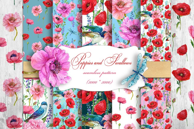 Poppies Flowers, Seamless patterns.Watercolor Flower example image 1