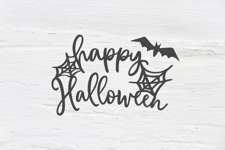 Happy Halloween with bat and spider net SVG, EPS, PNG, DXF