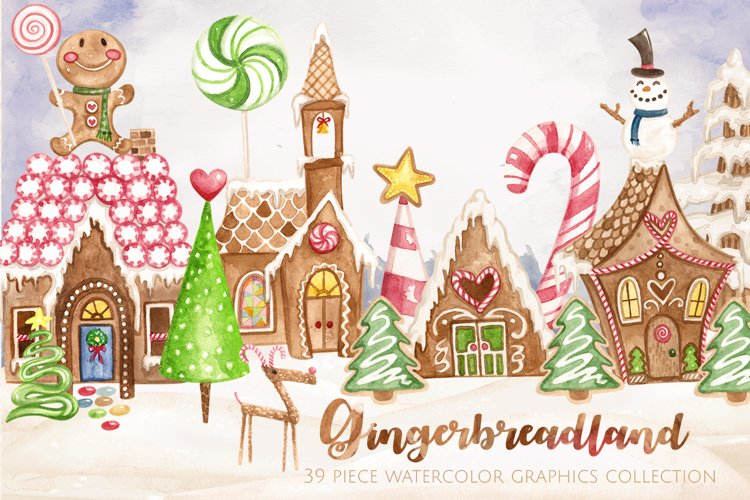 Gingerbreadland Watercolor Collection example image 1