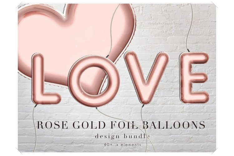 Rose Gold Foil Balloons Letters Clipart - Design Package