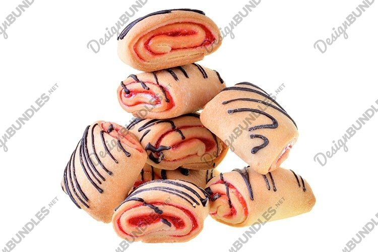 Stock Photo - Cookies rolls with strawberry jam isolated example image 1