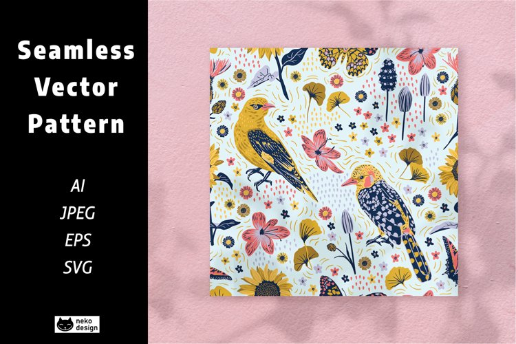 Blossom Birds Vector Seamless Pattern example image 1