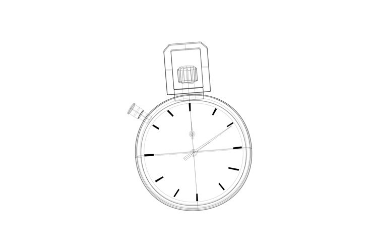 stopwatch wire-frame line drawing front view example image 1