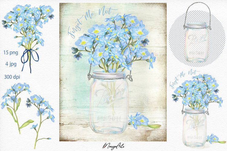 Forget Me Not, Watercolor Clipart, Mason Jar Illustrations