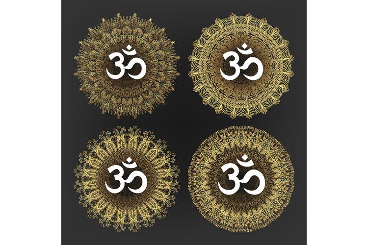 Aum Symbol Of Hindu Deity God Shiva Set Vector example image 1