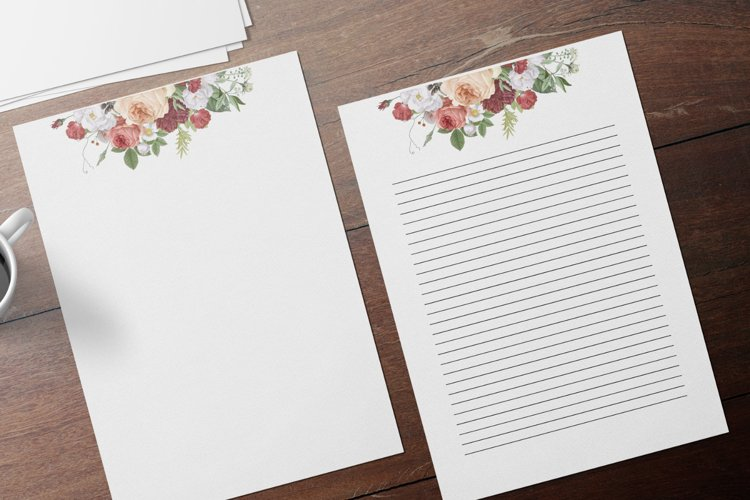 Watercolor Elegant Floral Stationery, Digital Lined Paper example image 1