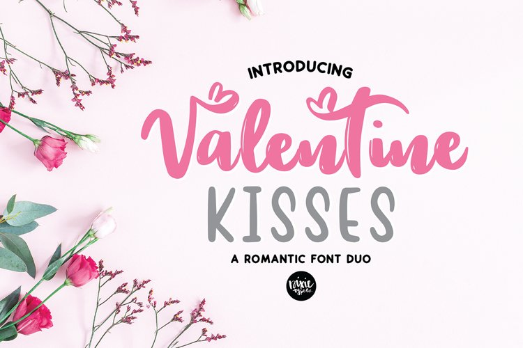VALENTINE KISSES Valentines Day Font Duo example image 1