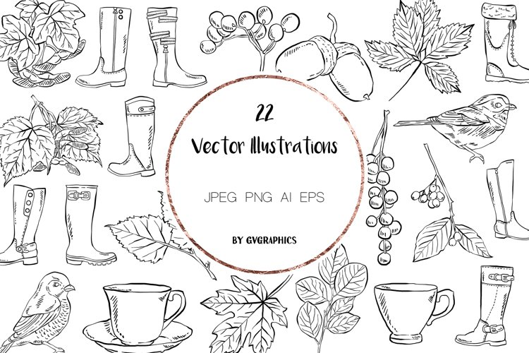 22 Birds, Leaves, Berries, Boots and Tea cups Illustrations example image 1