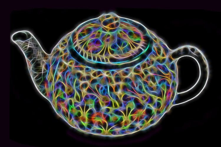 Black insulated background with a multicolored teapot example image 1