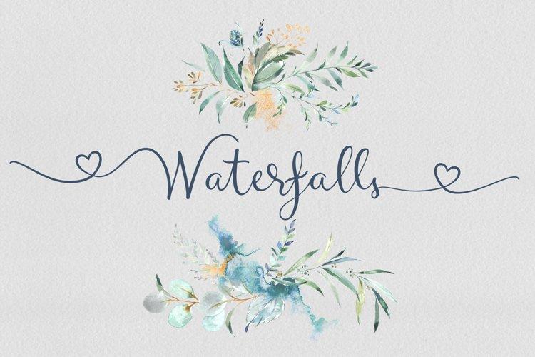 Waterfalls love font swash font example image 1