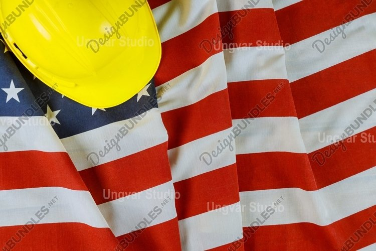 Happy Labor day american patriotic USA flag yellow helmet