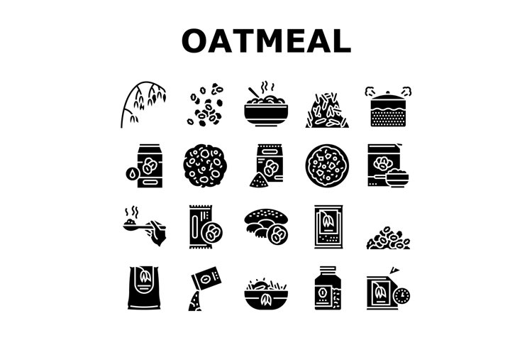 Oatmeal Nutrition Collection Icons Set Vector example image 1