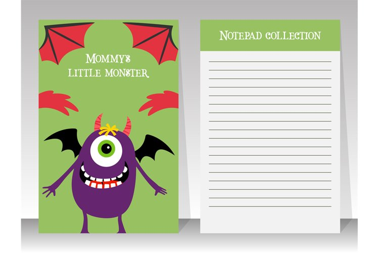 Cute notebook template with happy monster example image 1