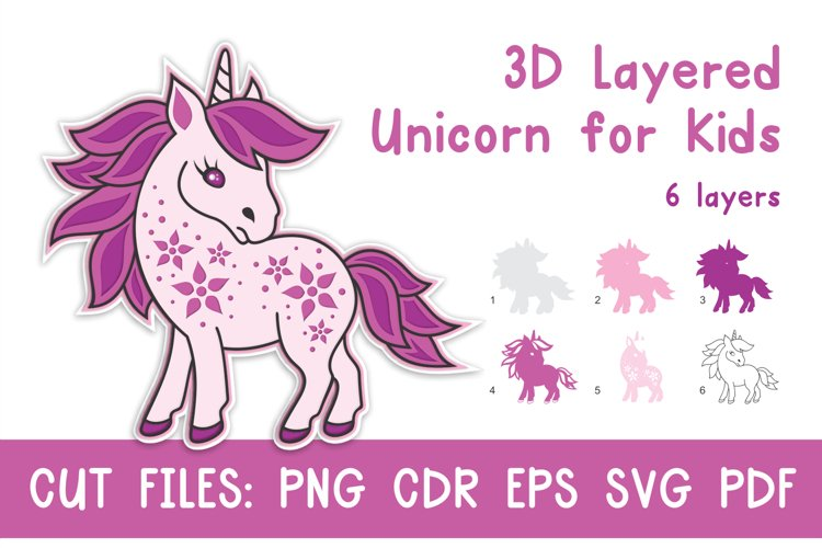 3D Layered Unicorn for Kids. Cut files example image 1