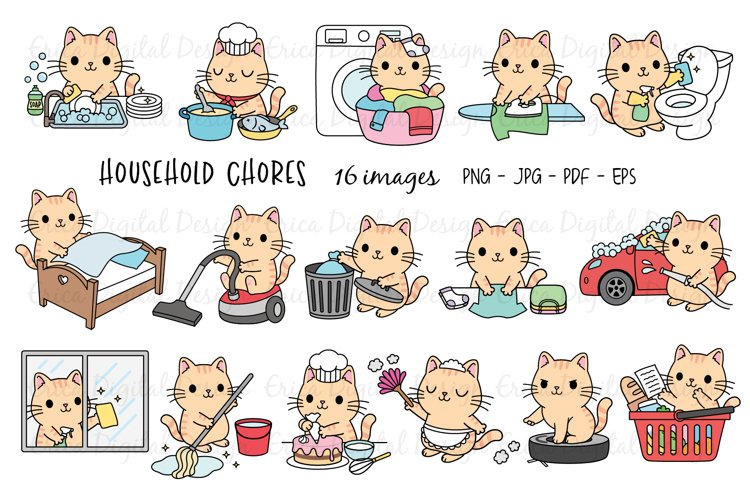 Household Chores clipart set - Funny cats - 16 cute images example image 1