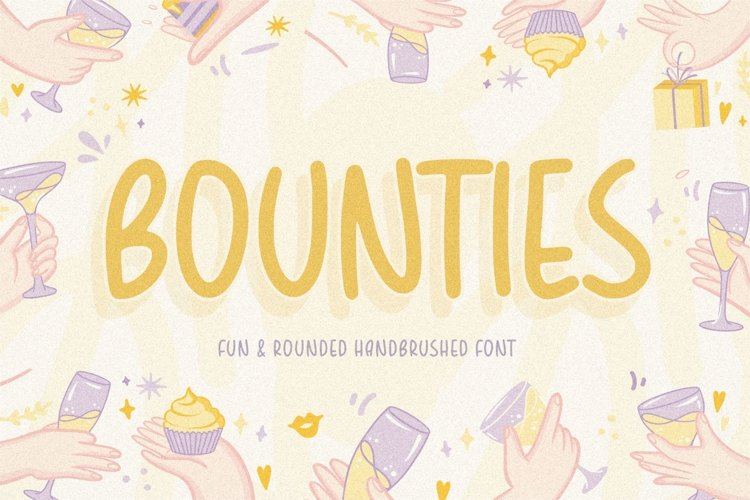 BOUNTIES Fun & Rounded Handbrushed Font example image 1
