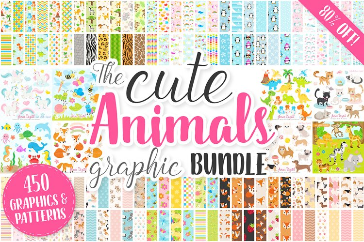 Cute Baby Animals Clip art Graphics and Digital Papers Patterns Bundle