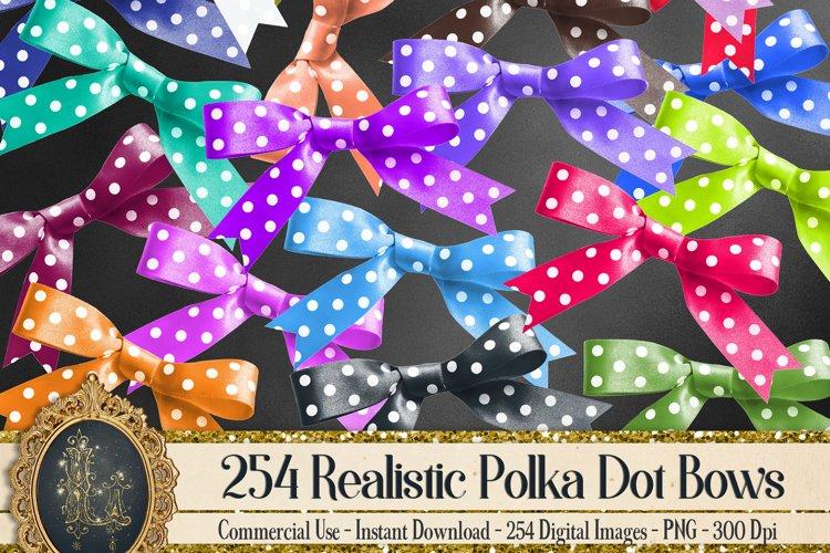 254 Realistic Polka Dot Bows Card Making Digital Images