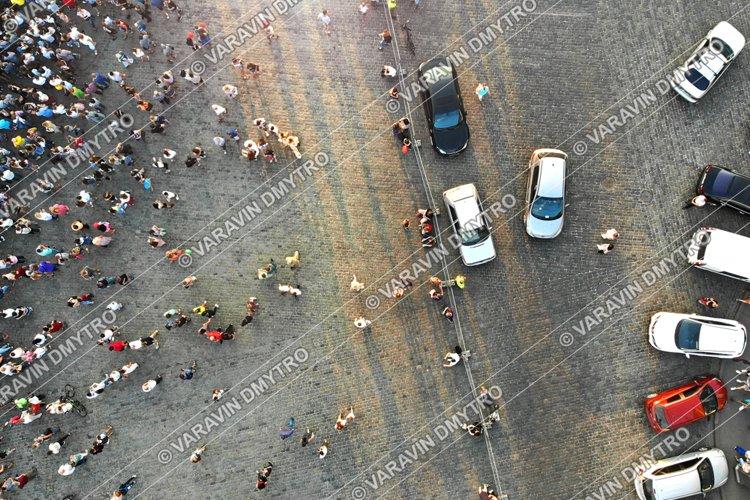 People Crowd Parking Lot Aerial Top View
