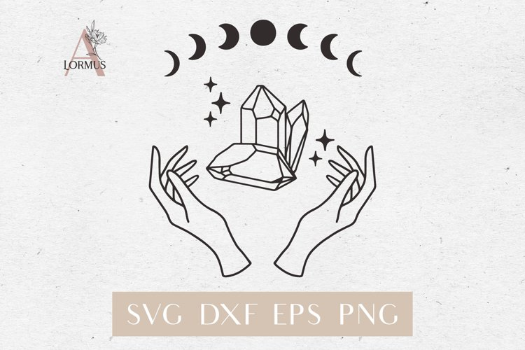 Witch hands svg, Crystal svg, Moon phases svg, Magic gem example image 1