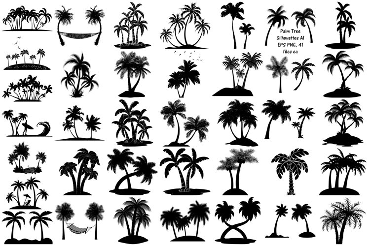 Palm Tree Silhouettes AI EPS Vector & PNG example image 1
