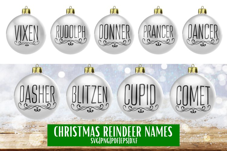 Christmas Reindeer Names SVG Bundle - 9 example image 1
