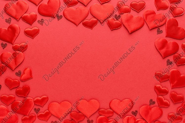 Valentines Day background. Red hearts. Copy space, template