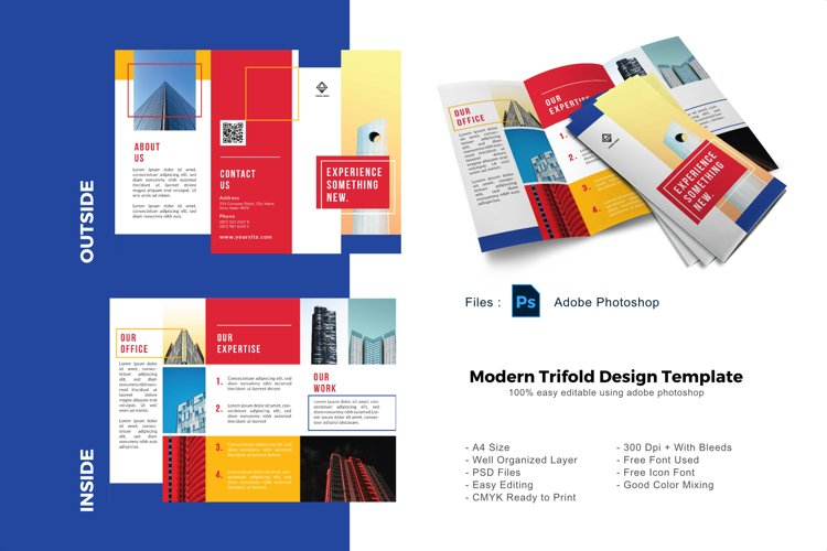 Multipurpose business trifold photoshop template