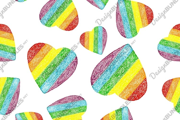 Seamless pattern of hand drawn hearts in rainbow flag colors example image 1