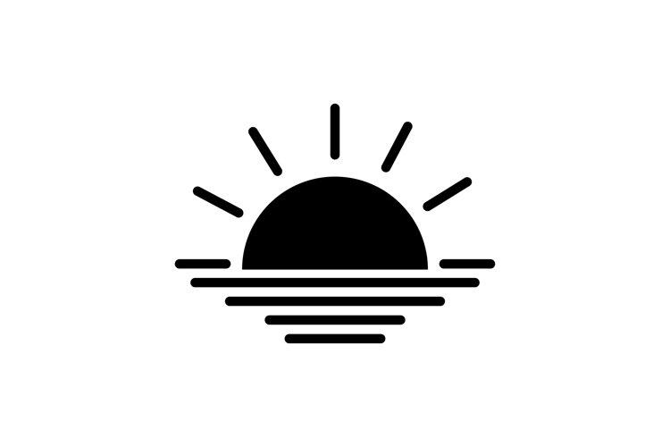 Sunrise icon. Rising above the sea the sun. Sunset symbol. example image 1