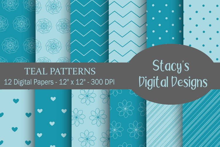 Teal Patterns - 12 Digital Papers example image 1