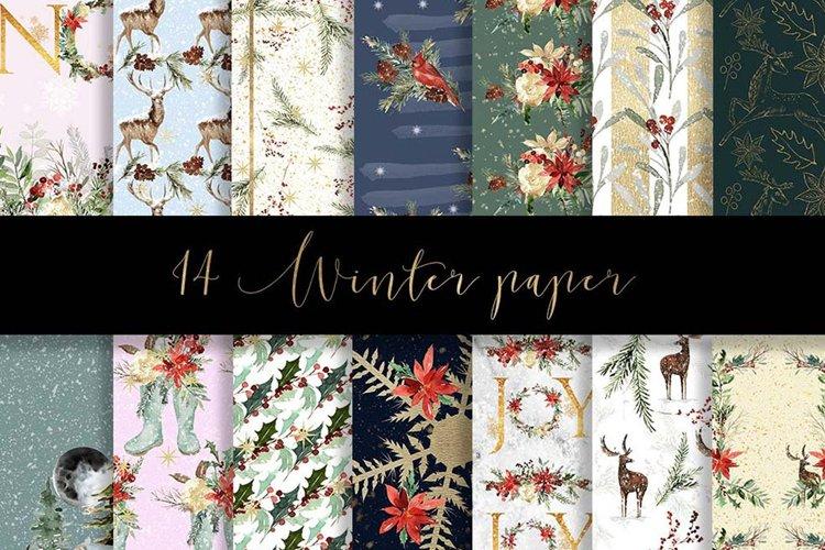Winter digital paper pattern example image 1