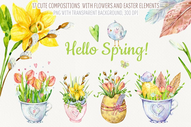 Hello Spring. Easter and spring compositions example image 1