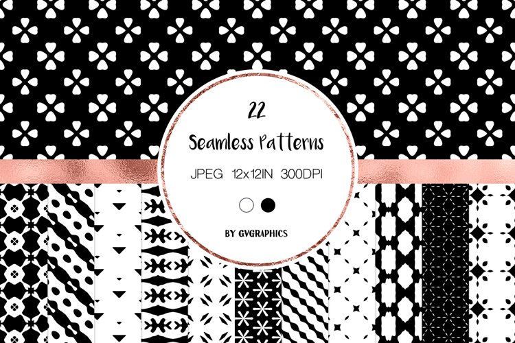 22 Black and White Simple Abstract Seamless Patterns example image 1