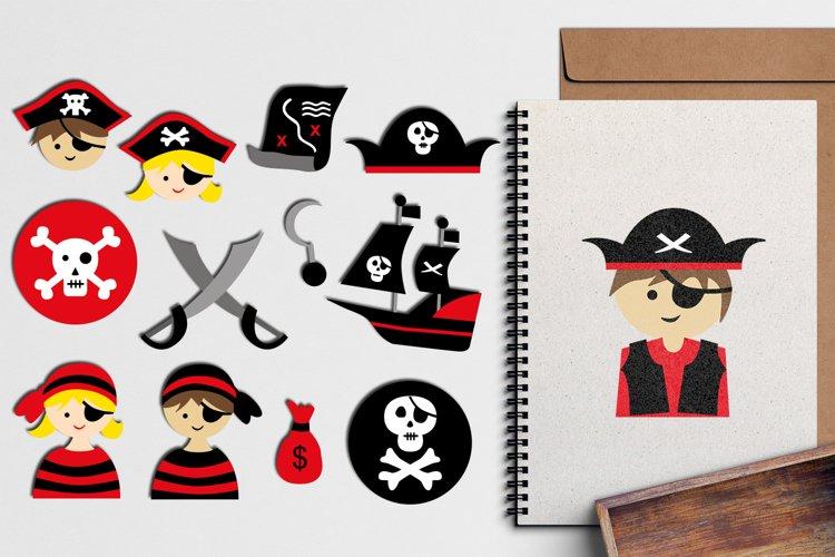 Pirate clip art illustrations - red black