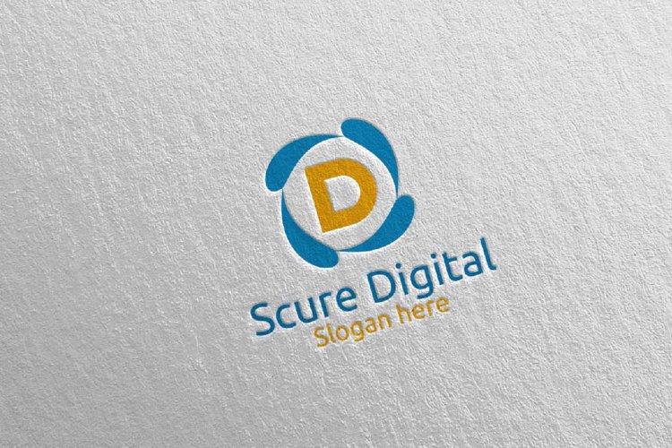 Secure Digital Letter D Digital Marketing Logo 80 example image 1